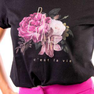 t-shirt nera stampa digitale Prevane motivo petali