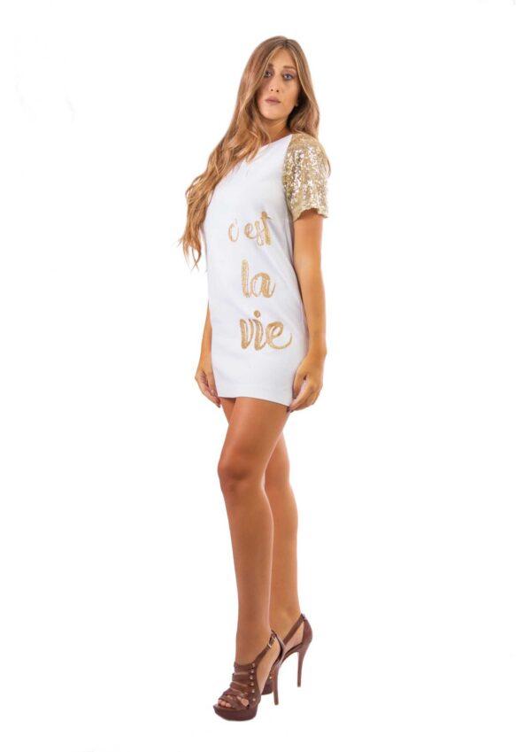 Abito da donna bianco elegante moda italiana