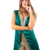 Giacca verde con revers in paillettes